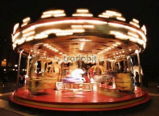 Carousel, Forum Les Halles, night view, Paris, France, Europa