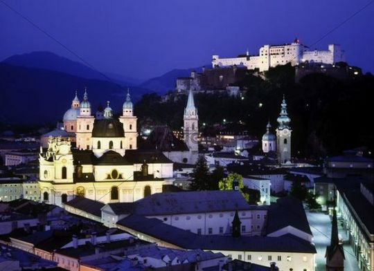 Cityscape and Festung Hohensalzburg fortress, Salzburg, Austria, Europe