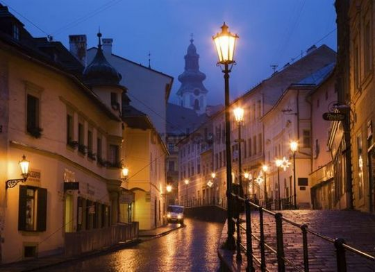 Street at night, Banska Stiavnica, Slovakia, Europe