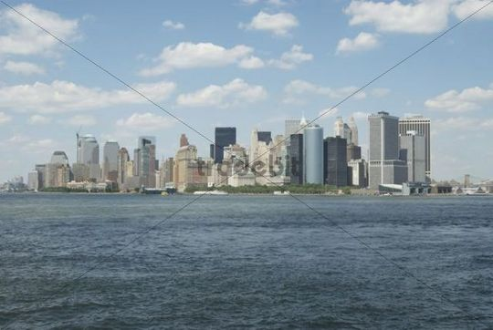 Skyline seen from the water, New York, USA