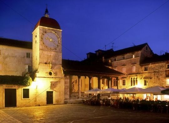 Clock tower, night shot, Trogir, Croatia, Europe