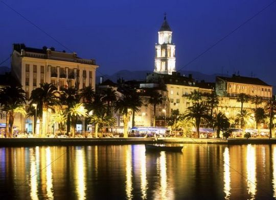 Waterside promenade, night shot, Split, Croatia, Europe