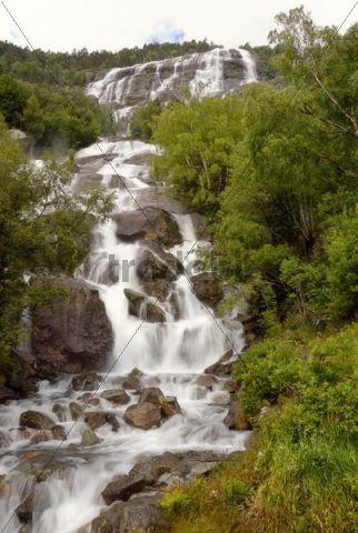 Waterfall near Odda, Hordaland province, Norway, Europe