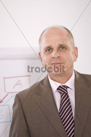 Manager standing in front of a flip chart