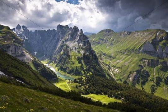 Weather mood, light mood on Faelensee lake between Mt. Hundsteingrat and Mt. Roslen-Saxer First in the Alpsteingebirge mountains, Bruelisau, Canton Appenzell Innerrhoden, Switzerland, Europe