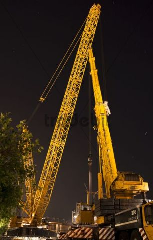 Demag CC 6800 SL giant crane, bridge construction, night scene, Konstanz, Lake Constance, Baden-Wuerttemberg, Germany, Europe