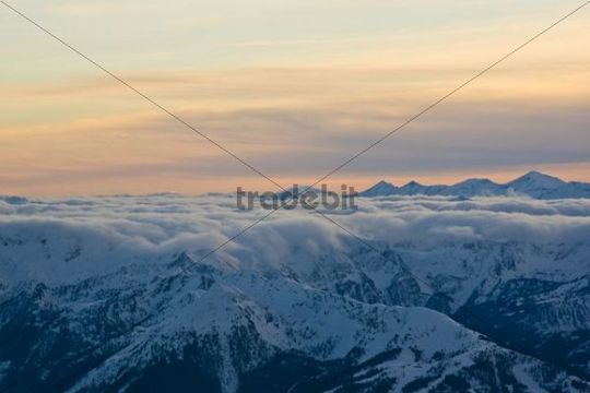 View from the Dachsteinmassiv massif on the Austrian Alps, Styria, Austria, Europe