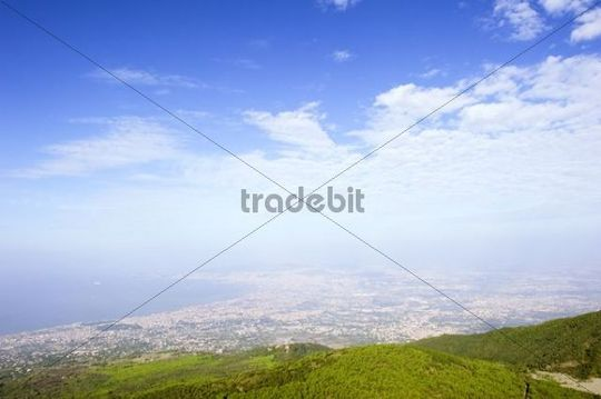 Morning mood over the bay of Naples, view from the summit of Mt. Vesuvius, Campania, Italy, Europe