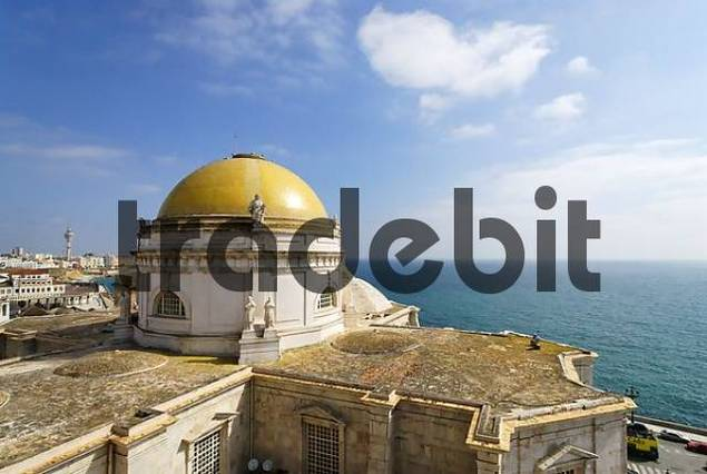 Cadiz Andalusia Spain cathedral from the north tower to to the central cupola