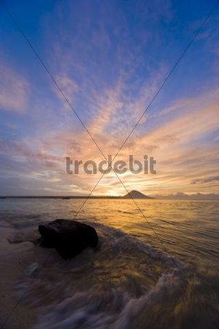Sunset on the beach, Siladen, Sulawesi, Indonesia, Southeast Asia