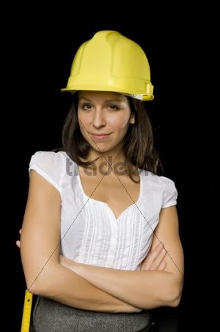 Young woman with a hard helmet
