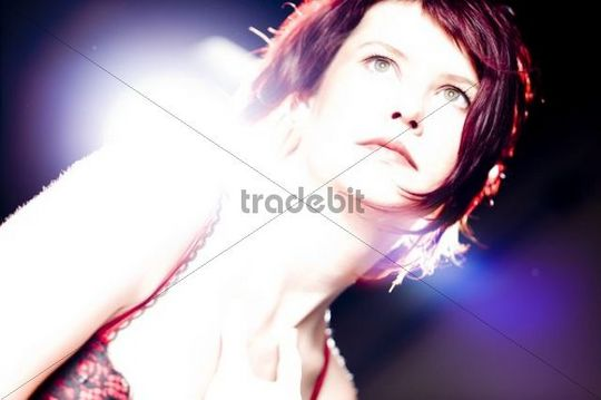 Red haired woman in underwear, erotic