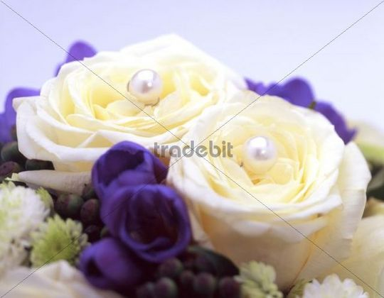 brautstrau 2 wei e rosen mit lila blumen runterlade. Black Bedroom Furniture Sets. Home Design Ideas
