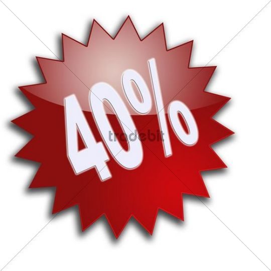 "Lettering ""40"", percent, discount"