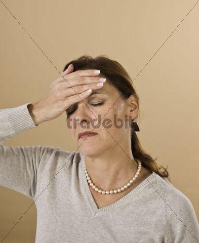 Woman with a severe headache