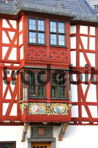 bay window with framework at the historical Amtshof in Bad Camberg, Hesse, Germany