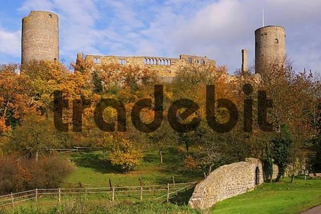 Muenzenberg castle, called the Wetterau inkpot, Muenzenberg, Hesse, Germany
