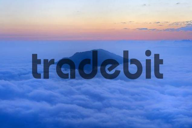 sunrise on the Rigi with fog and view of the Alps of Central Switzerland, Switzerland