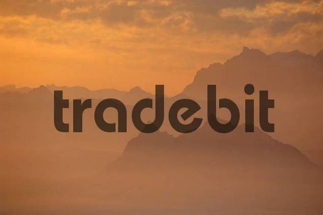 sunrise on the Rigi with view of the Alps of Central Switzerland, Switzerland
