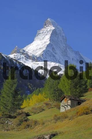 Matterhorn with cottage in the foreground, Zermatt, Valais, Switzerland
