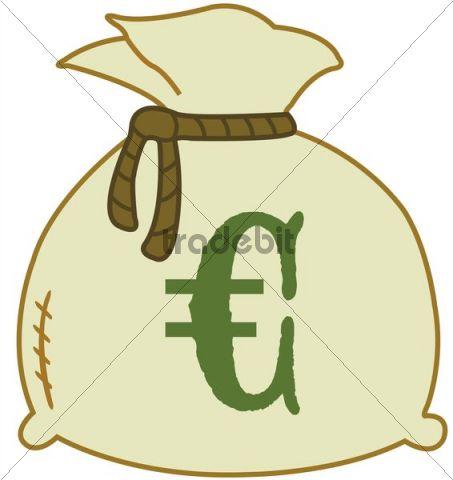 Money bag with euro sign, illustration