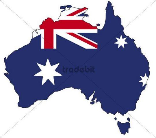 Australia, flag, outline