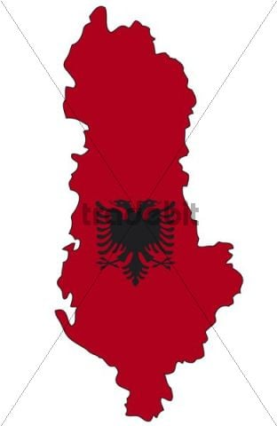 Albania, flag, outline
