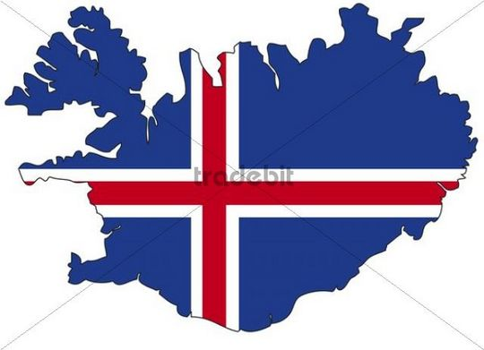 Iceland, flag, outline