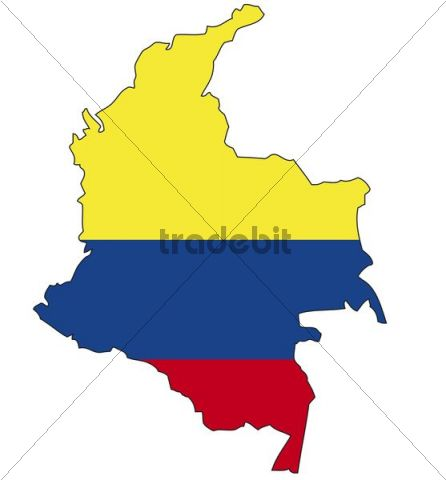 Colombia, flag, outline