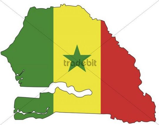 Senegal, flag, outline