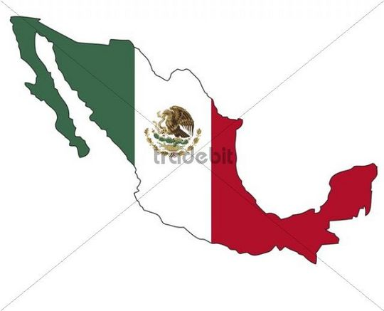 mexico flag. Mexico, flag, outline