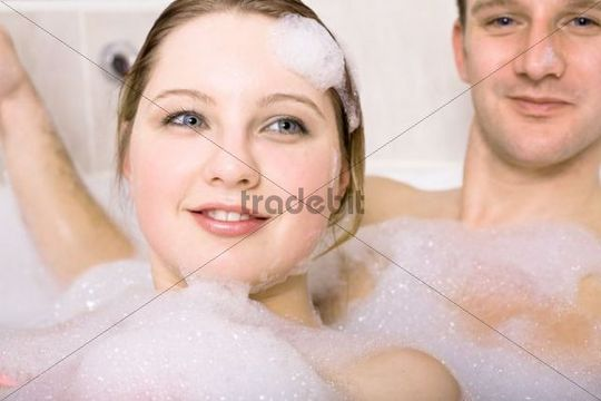 Young couple in the bathtub