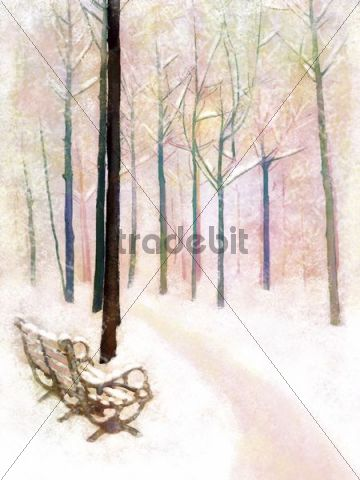 Illustration, painting, park, bench, snow