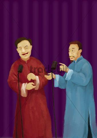 Illustration, chinesische Schauspieler auf der Bühne