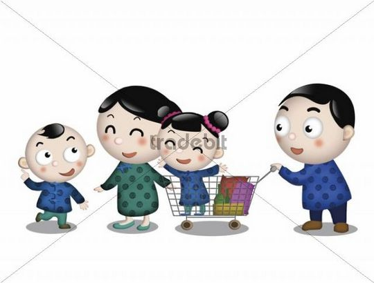 Illustration, cartoon, family, shopping cart