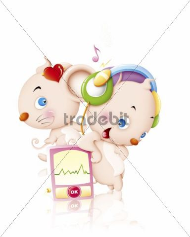 Illustration, cartoon, two mice, listening to music, MP3 player