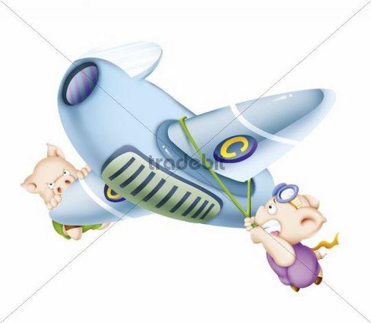 Illustration, cartoon, airplane, pigs