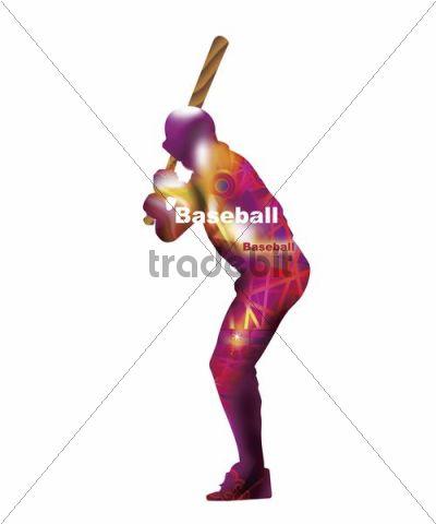 Illustration, baseball batter