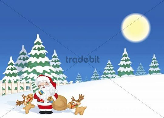 Illustration, cartoon, Christmas, Santa Claus