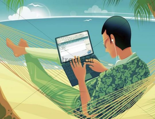 Illustration, man, hammock, beach, laptop