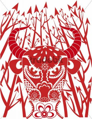 Illustration, Chinese paper cutting, bull, arrows
