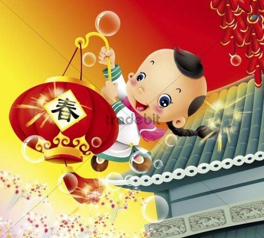 Illustration, cartoon, child, lantern, Chinese New Year