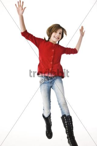 A girl leaping into the air