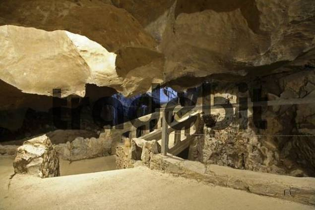 Bridge in the stalactite cave Lurgrotte, Pernegg, Styria, Austria