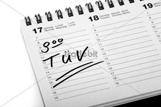 """Entry """"TUEV"""", car inspection, in a diary"""