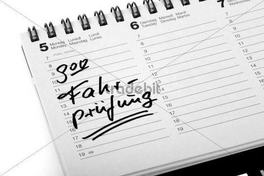 """Entry """"Fahrpruefung"""", driving test, in a diary"""