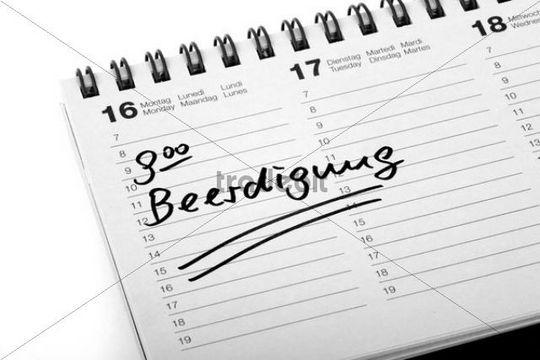 """Entry """"Beerdigung"""", funeral, in a diary"""