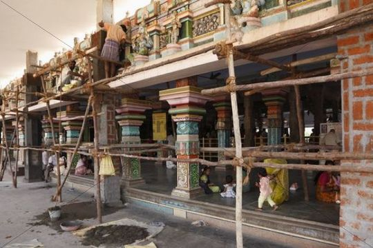 Renovation work, Bannari Amman Temple, Tamil Nadu, Tamilnadu, South India, India, South Asia, Asia