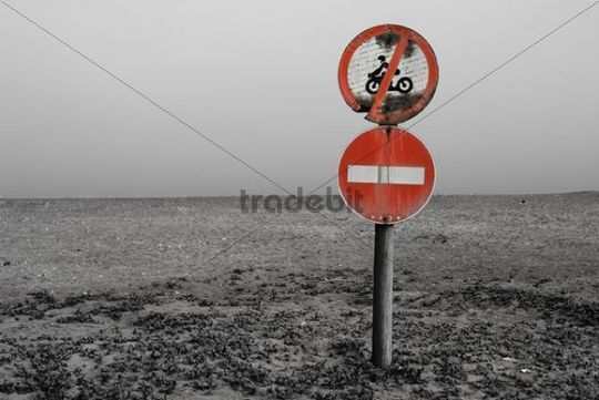 Prohibition signs, Langstrand, Namibia, Africa