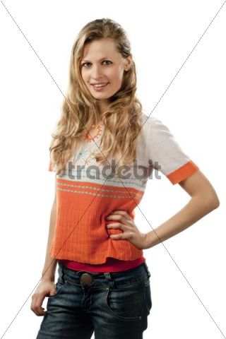 A young woman, 24 years, slim, blond, pretty, half portrait